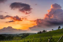 Campi verdi con nuvole colorate di rosso e arancione dal tramonto